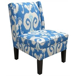 Pemberly Row Cotton Wingback Accent Chair in Porcelain Blue