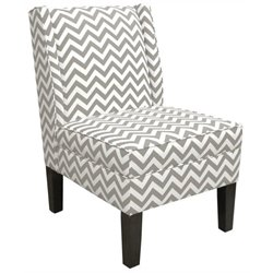Pemberly Row Cotton Wingback Accent Chair in White and Ash