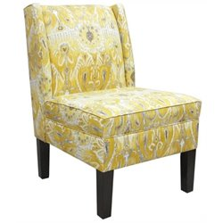 Pemberly Row Cotton Wingback Accent Chair in Lemon Yellow