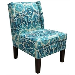 Pemberly Row Cotton Wingback Accent Chair in Teal Blue