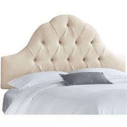 MER-1396 Upholstered Tufted Panel Headboard in Talc 1