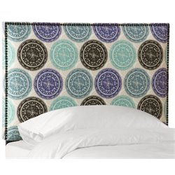 MER-1396 Upholstered Panel Headboard in Pen Medallion Blue