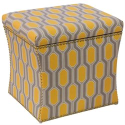 Pemberly Row Storage Ottoman in Hexagon Yellow