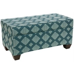 Pemberly Row Storage Bedroom Bench in Line Lattice Teal