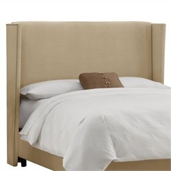 MER-1396 Upholstered Wingback Panel Headboard in Beige