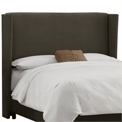 MER-1396 Upholstered Wingback Panel Headboard in Pewter