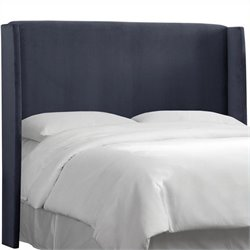 MER-1396 Upholstered Wingback Panel Headboard in Blue