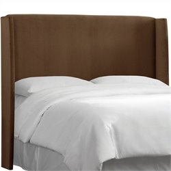 MER-1396 Upholstered Wingback Panel Headboard in Brown