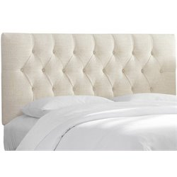 MER-1396 Upholstered Tufted Panel Headboard in White 1