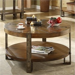 Beaumont Lane Round Cocktail Table in Landmark Worn Oak