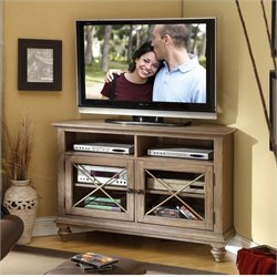 Beaumont Lane Corner TV Console in Weathered Driftwood
