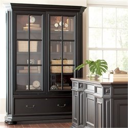 Beaumont Lane Sliding Door Bookcase in Rubbed Black