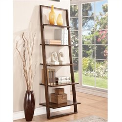 Beaumont Lane Leaning Bookcase in Burnished Brownstone