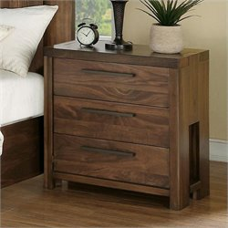 Beaumont Lane Three Drawer Nightstand in Casual Walnut