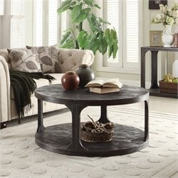 Beaumont Lane Round Coffee Table in Worn Black