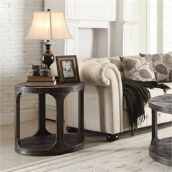 Beaumont Lane Round End Table in Worn Black