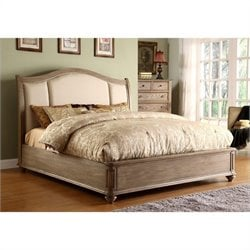 Beaumont Lane Queen Upholstered Sleigh Bed in Driftwood