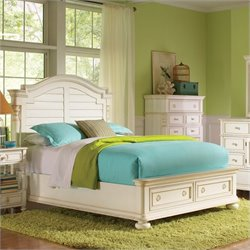 Beaumont Lane Queen Arch Storage Bed in Honeysuckle White