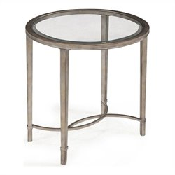Beaumont Lane Glass Top End Table in Antique Silver