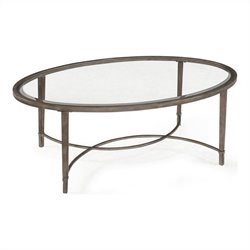 Beaumont Lane Glass Top Coffee Table in Antique Silver