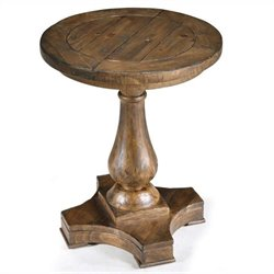 Beaumont Lane Wood Accent Pedestal Round End Table in Natural Pine