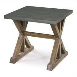 Beaumont Lane End Table in Zinc and Antique Natural