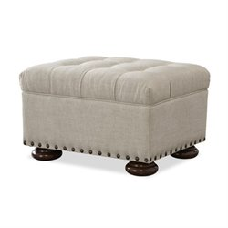 Beaumont Lane Upholstered Ottoman in Linen