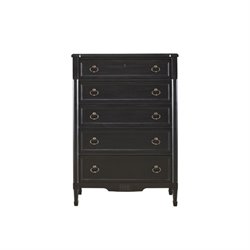 Beaumont Lane 5 Drawer Chest in Black Denim