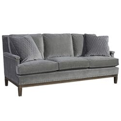 Beaumont Lane Velvet Upholstered Sofa in Gray