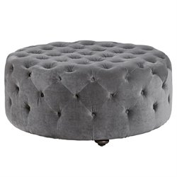 Beaumont Lane Velvet Tufted Round Ottoman