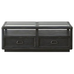 Beaumont Lane Glass Top Coffee Table in Black