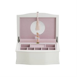 Reed & Barton Ballerina Musical Jewelry Box in White Satin