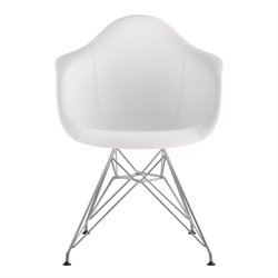 332010 Mid Century Eifel Arm Chair in Milanno White