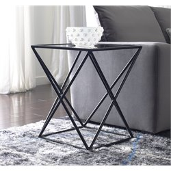 Tommy Hilfiger Azura Glass Top End Table in Dark Smoke