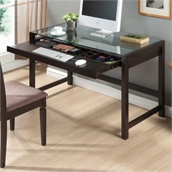 Scranton and Co Glass Top Computer Desk in Dark Brown
