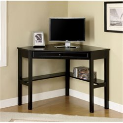 Scranton & Co Modern Corner Computer Desk in Black