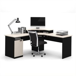 Scranton & Co Corner Computer Desk in Sand Granite and Charcoal