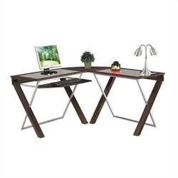 Scranton & Co Wood L-Shaped Glass Top Computer Desk in Espresso