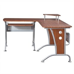 Scranton & Co Wood and Metal L-Shaped Computer Desk in Mahogany