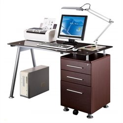 Scranton & Co Tempered Glass Top Computer Desk in Chocolate