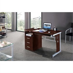 Scranton & Co Laminate Home Office Computer Desk in Chocolate