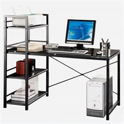 Scranton & Co Tempered Glass Laptop Desk in Black and Smokey Gray