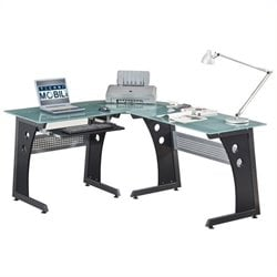 Scranton & Co Frosted Glass Top L-Shaped Computer Desk in Graphite
