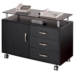 Scranton & Co 3 Drawer Wood Storage Cabinet in Graphite