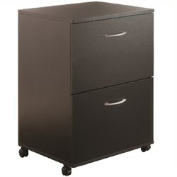 Scranton & Co 2 Drawer Mobile Wood File Cabinet in Black