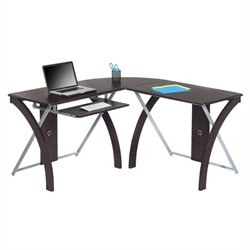 Scranton & Co L-Shaped Computer Desk in Espresso