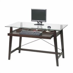 Scranton & Co Glass Top Computer Desk in Espresso