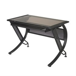 Scranton & Co Bronze Glass Top Desk with Keyboard Tray in Black