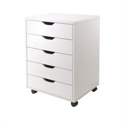 Scranton & Co 5 Drawer Wood Mobile File Cabinet in White
