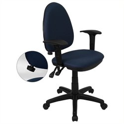Scranton & Co Mid-Back Task Office Chair with Arms in Navy Blue